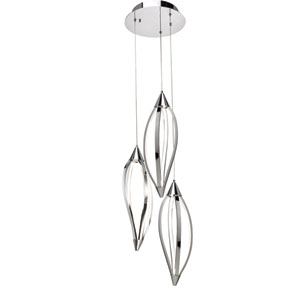 Meridian Chrome Three-Light LED Cluster Pendant