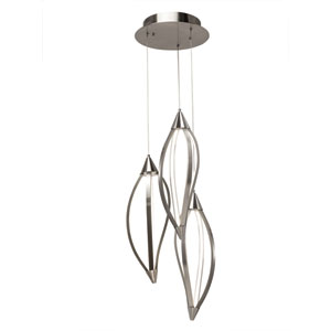 Meridian Brushed Nickel Three-Light LED Cluster Pendant