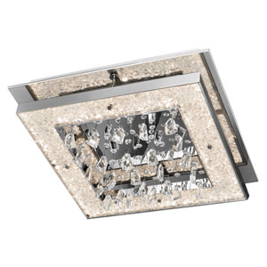 Crushed Ice Chrome One-Light LED Flush Mount