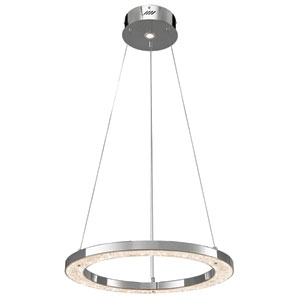 Crushed Ice Chrome One-Light LED Round Pendant