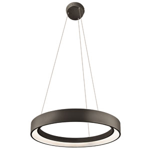 Fornello Sand Textured Black One-Light LED Round Pendant
