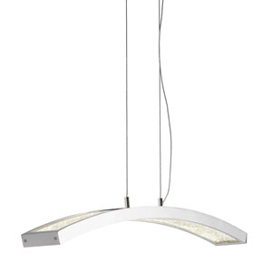 Crushed Ice Chrome One-Light LED Linear Pendant