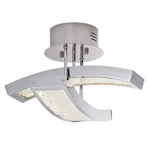 Crushed Ice Chrome Two-Light LED Semi-Flush Mount