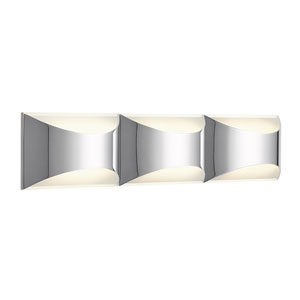 Adalynn Chrome and Matte White Three-Light LED Wall Sconce