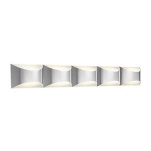 Adalynn Chrome and Matte White Five-Light LED Linear Bath Vanity Fixture