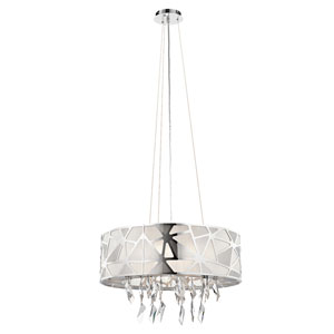 Angelique Chrome Six-Light Drum Pendant