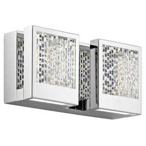Pandora Chrome LED Two-Light Bath Sconce