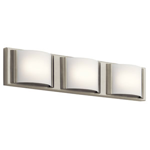 Bretto Brushed Nickel LED Three-Light Bath Sconce