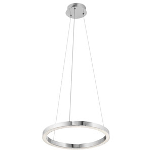 Moonlit Chrome LED 18-Inch One-Light Pendant