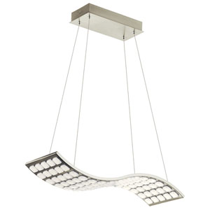 Cubic Wave Brushed Nickel LED Pendant