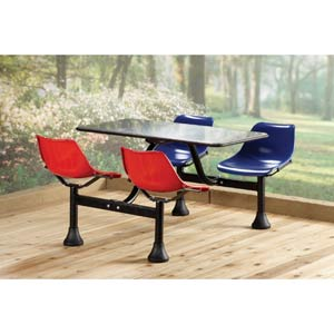 Large Group/Cluster Blue/Red Table and Chairs