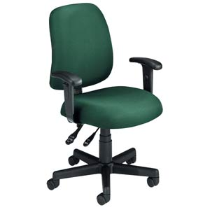 Green Fabric Computer Posture Chair with Arms