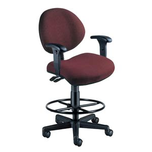 Burgundy Fabric 24 Hour Task Chair with Arms and Drafting Kit