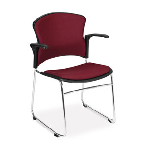 Wine Multi-Use Stacking Chair with Fabric Seat and Back with Arms
