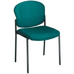 Fabric Upholstered Teal Armless Stacking Chair