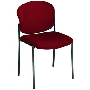 Fabric Upholstered Wine Armless Stacking Chair