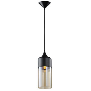 Robertson Blvd. Black One-Light Cylinder Pendant