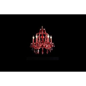 Crimson Blvd. Red Crystal Five-Light Mini Chandelier