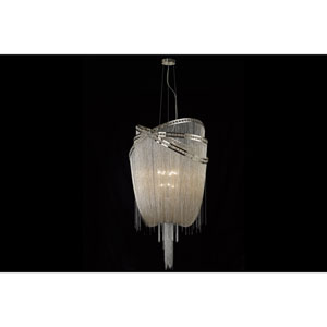 Wilshire Blvd. Polished Nickel Nine-Light Chandelier
