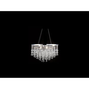 Hollywood Blvd. Polish Nickel and Clear Glass Tear Drops 22-Inch Nine-Light Chandelier