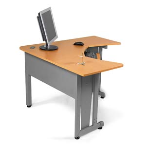 L-Shaped Freestanding Workstation - Maple