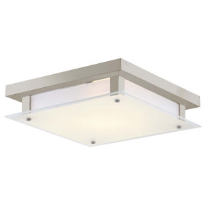 Helios Buffed Nickel LED Flush Mount with Silk Screened White Glass