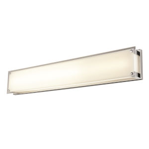 Helios Chrome LED Bath Vanity with Silk Screened White Glass