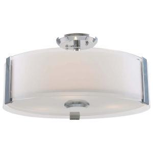 Zurich Chrome Three-Light Semi-Flush Mount with Silk Screened Opal Glass