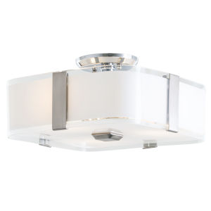 Kii Chrome and Stainless Steel 12-Inch Three-Light Semi Flushmount