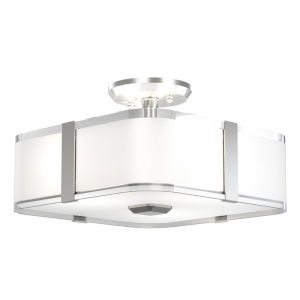 Kii Satin Nickel and Stainless Steel Three-Light Semi Flushmount