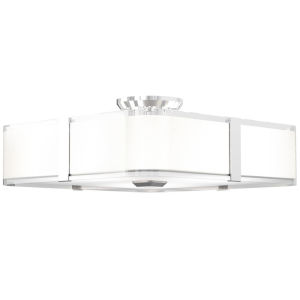 Kii Chrome and Stainless Steel Three-Light Semi Flushmount