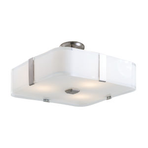 Kii Satin Nickel and Stainless Steel 16-Inch Three-Light Semi Flushmount