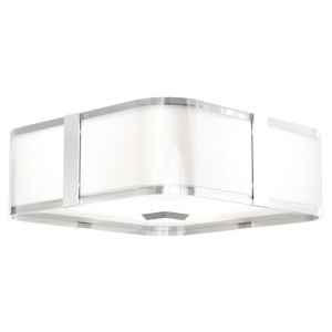 Kii Chrome and Stainless Steel ADA Three-Light Flushmount
