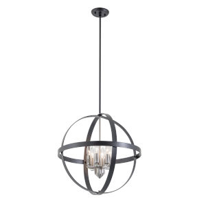 Compass Graphite and Satin Nickel Six-Light Pendant