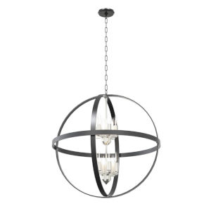 Compass Graphite and Satin Nickel 12-Light Pendant