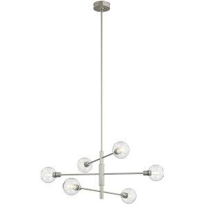 Ocean Drive Satin Nickel and Chrome Six-Light Pendant