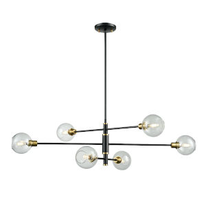 Ocean Drive Venetian Bronze and Graphite Six-Light Pendant