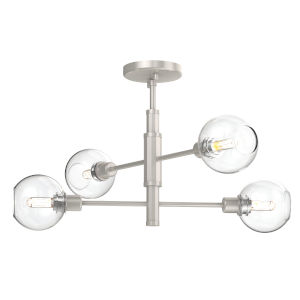 Ocean Drive Satin Nickel and Chrome Four-Light Semi Flushmount