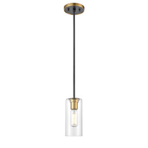 Barker Brass and Graphite One-Light Mini Pendant