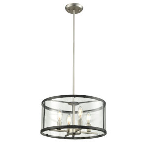 Downtown Brushed Nickel and Graphite Four-Light Pendant