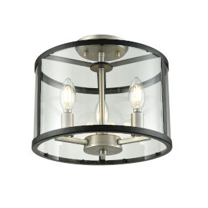 Downtown Brushed Nickel and Graphite Three-Light Semi Flushmount