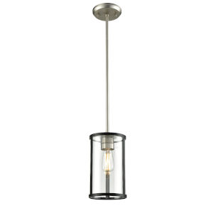 Downtown Brushed Nickel and Graphite One-Light Mini Pendant