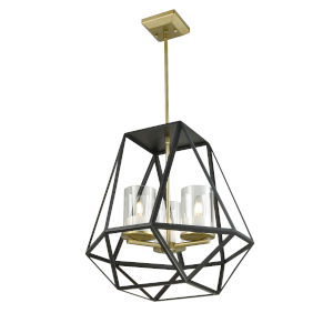 Givenchy Soft Gold and Graphite Three-Light Pendant