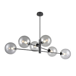 Courcelette Graphite Six-Light CHandelier with Smoke Glass