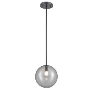 Courcelette Graphite One-Light Mini Pendant with Smoke Glass