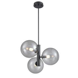 Courcelette Graphite 19-Inch Three-Light Pendant with Smoke Glass