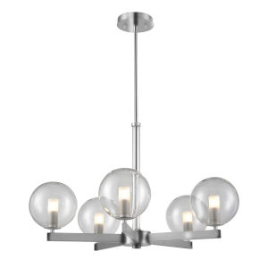 Courcelette Chrome Five-Light Chandelier with Clear Glass