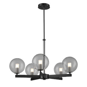Courcelette Graphite Five-Light Chandelier with Smoke Glass