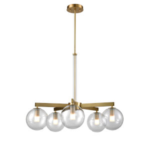 Courcelette Venetian Brass Five-Light Chandelier with Clear Glass