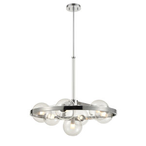 Courcelette Chrome Seven-Light Chandelier with Clear Glass